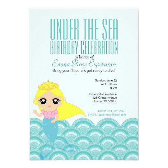 little MERMAID birthday invitation B