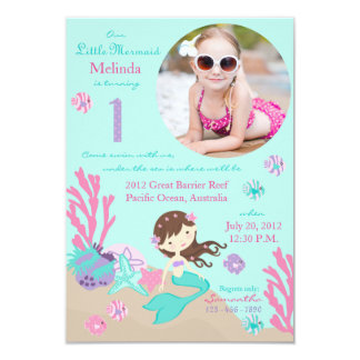 Little Mermaid Birthday Invitation Lt. Brunette 1