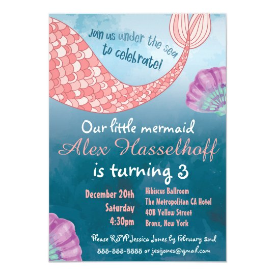 Little Mermaid Birthday Paty Invitation