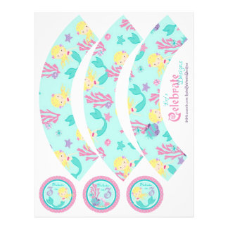 Little Mermaid Cupcake Wrappers Blonde 3B Personalized Flyer