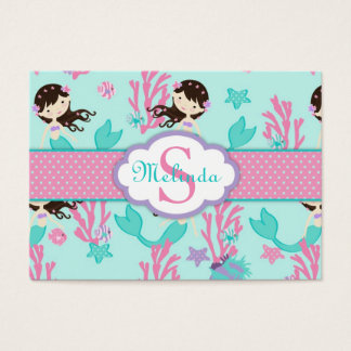 Little Mermaid Gift Tag L2 Brunette Business Card