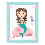 Little mermaid girl cute flat thank you note cards invitation