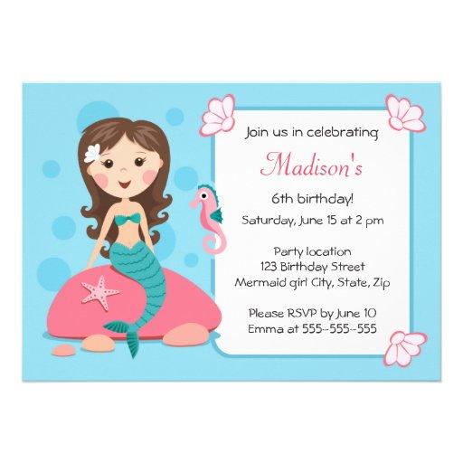 Little mermaid girl cute girly birthday invitation