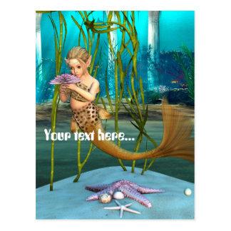 Little Mermaid holding Anemone Flower Post Card