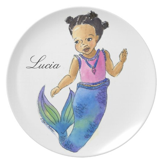 Little Mermaid Plate customised with name