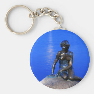 Little mermaid statue, Copenhagen, Denmark Basic Round Button Key Ring