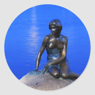 Little mermaid statue, Copenhagen, Denmark Round Sticker