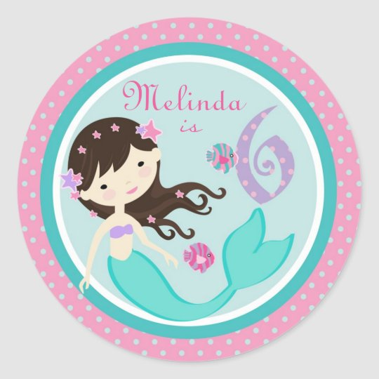 Little Mermaid Sticker Brunette 6B