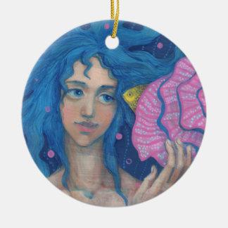 Little Mermaid, Underwater Fantasy Art, Pink Blue Round Ceramic Decoration
