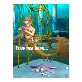 Little Mermaid with Anemone Flower Postcard