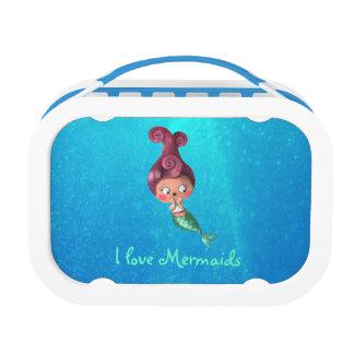 Little Mermaid with Dark Pink Hair Lunch Box