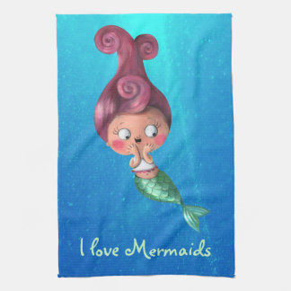 Little Mermaid with Dark Pink Hair Tea Towel