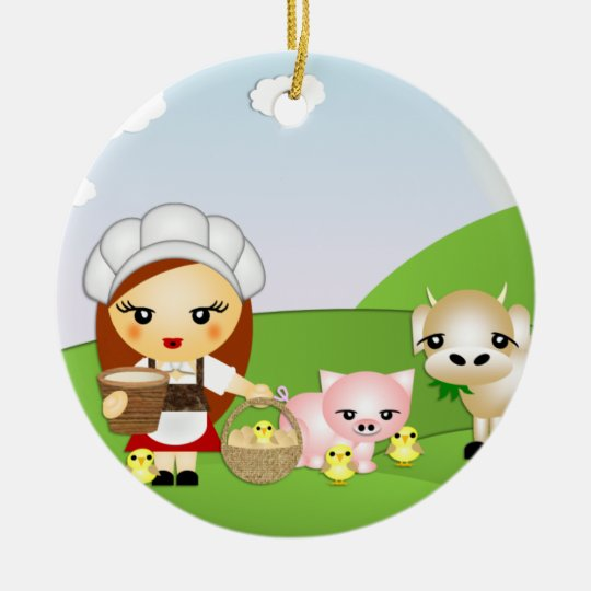 Little Milk Maid and friends Christmas Ornament