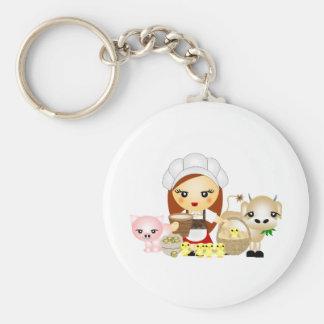 Little Milk Maid Basic Round Button Key Ring