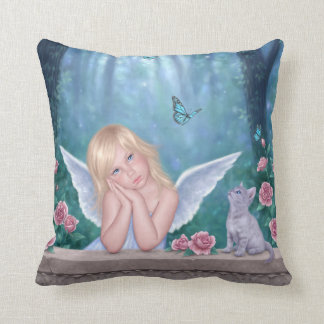 Little Miracles Angel Child Pillow Blue & Pink Cushions