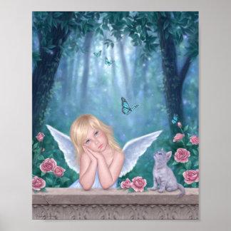 Little Miracles Angel & Kitten Art Poster Print