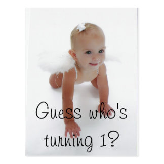 Little Miss Angel Guess who s turning 1 Postcards