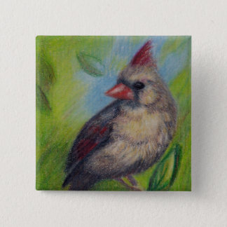 Little Miss Cardinal aceo Button