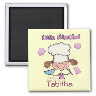 Little Miss Chef Personalize Square Magnet
