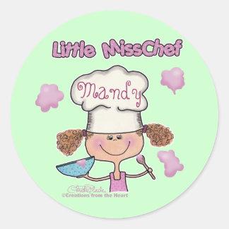 Little Miss Chef Personalize Round Sticker