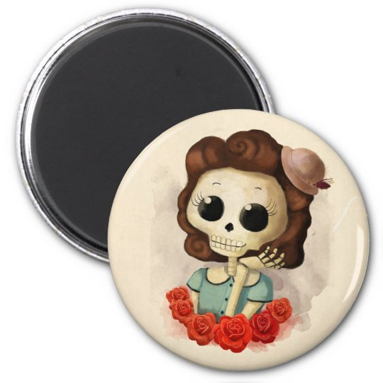 Little Miss Death and Roses 6 Cm Round Magnet