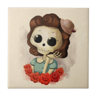 Little Miss Death and Roses Tile