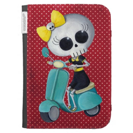 Little Miss Death on Scooter Kindle Keyboard Cases