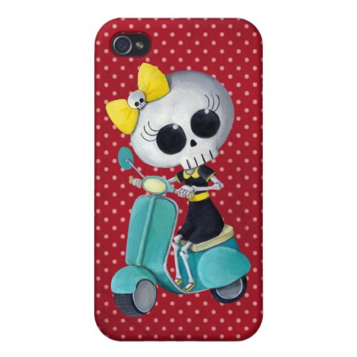 Little Miss Death on Scooter Cover For iPhone 4
