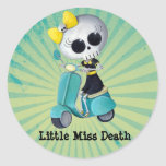 Little Miss Death on Scooter Round Stickers