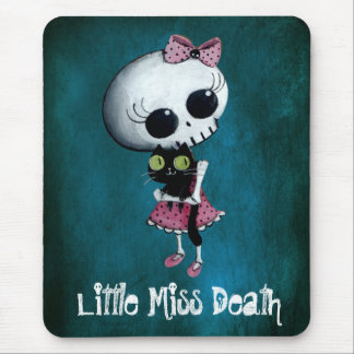 Little Miss Death with Black Cat Mouse Pad