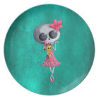 Little Miss Death with Halloween Ice Cream Plate