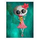 Little Miss Death with Halloween Ice Cream Postcard