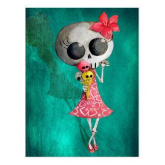 Little Miss Death with Halloween Ice Cream Postcard