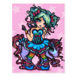 Little Miss Deelish Fairy Unicorn Princess Fantasy Post Card