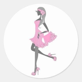 Little Miss Lady Shopper Dressed In Pink Round Sticker
