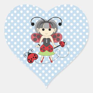 Little Miss Ladybug Fairy Princess and Bug Wand Heart Sticker