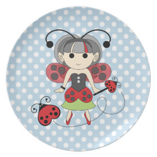Little Miss Ladybug Fairy Princess and Bug Wand Plate