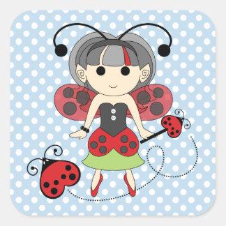 Little Miss Ladybug Fairy Princess and Bug Wand Square Sticker