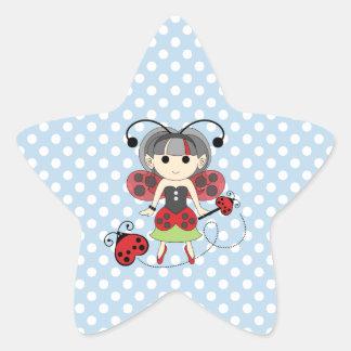 Little Miss Ladybug Fairy Princess and Bug Wand Star Sticker