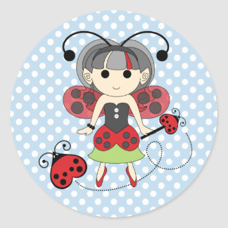 Little Miss Ladybug Fairy Princess and Bug Wand Round Sticker