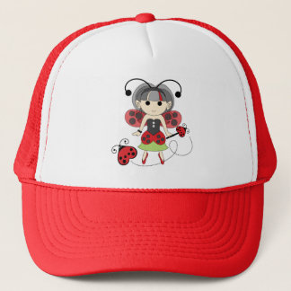 Little Miss Ladybug Fairy Princess and Bug Wand Trucker Hat