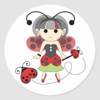 Little Miss Ladybug Girl Fairy Bug Circle Stickers