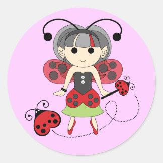 Little Miss Ladybug Girl Fairy Bug Stickers Pink