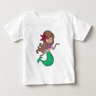 Little Miss Mermaid - Brunette Hair Baby T-Shirt