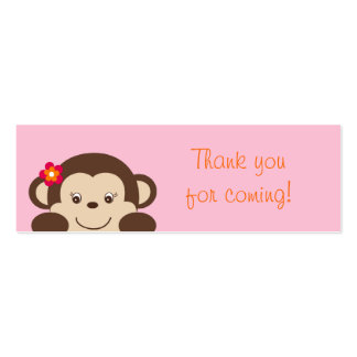 Little Miss Monkey Part Favor Gift Tags Business Card Template