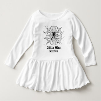 Little Miss Muffet black spider in web kids Dress