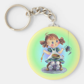 LITTLE MISS MUFFET by SHARON SHARPE Basic Round Button Key Ring