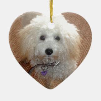 Little Miss Pretty Poodle Ceramic Heart Decoration