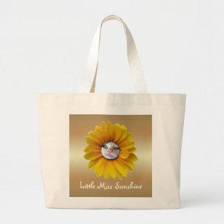 Little Miss Sunshine Smiling Cat Jumbo Tote Bag