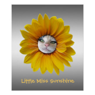 Little Miss Sunshine Smiling Cat Poster